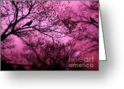 Landscape Framed Prints Greeting Cards - Surreal Fantasy Pink Sky Trees and Ravens Greeting Card by Kathy Fornal
