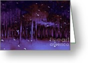 Tree Prints Greeting Cards - Surreal Fantasy Purple Woodlands With Birds Greeting Card by Kathy Fornal