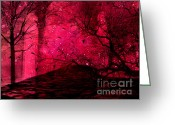 Red Birds Greeting Cards - Surreal Fantasy Red Nature Trees and Birds Greeting Card by Kathy Fornal