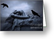 Ravens And Crows Photography Greeting Cards - Surreal Gothic Blue Female With Coffin Ravens Greeting Card by Kathy Fornal