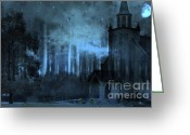 Surreal Fantasy Gothic Church Greeting Cards - Surreal Gothic Church Full Moon and Stars Greeting Card by Kathy Fornal