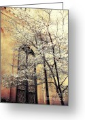 Surreal Fantasy Gothic Church Greeting Cards - Surreal Gothic Church Window With Fall Tree Greeting Card by Kathy Fornal