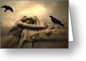 Ravens And Crows Photography Greeting Cards - Surreal Gothic Female Figure Coffin Ravens  Greeting Card by Kathy Fornal