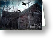 Ravens And Crows Photography Greeting Cards - Surreal Gothic Old Barn With Ravens Crows  Greeting Card by Kathy Fornal