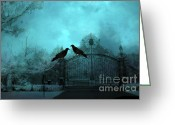 Fantasy Surreal Spooky Photography Greeting Cards - Surreal Gothic Ravens Fantasy Art Gate Scene Greeting Card by Kathy Fornal