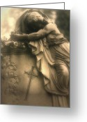Surreal Gothic Angel Photography Greeting Cards - Surreal Haunting Cemetery Mourner On Grave Greeting Card by Kathy Fornal