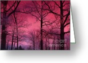 Winter Trees Greeting Cards - Surreal Haunting Dark Pink Sky Nature Trees Greeting Card by Kathy Fornal