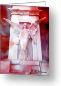 Photographs With Red. Greeting Cards - Surreal Impressionistic Red White Angel Art  Greeting Card by Kathy Fornal