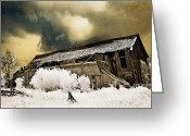 Falling Down Greeting Cards - Surreal Infrared Barn Scene With Stormy Sky Greeting Card by Kathy Fornal