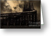 Steel Construction Greeting Cards - Surreal Night At The Bay Area Richmond-San Rafael Bridge - 7D18536 - Sepia Greeting Card by Wingsdomain Art and Photography
