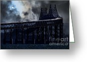 Steel Construction Greeting Cards - Surreal Night At The Bay Area Richmond-San Rafael Bridge - 7D18536 Greeting Card by Wingsdomain Art and Photography