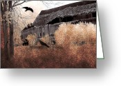 Ravens And Crows Photography Greeting Cards - Surreal Old Barn Scene With Ravens Greeting Card by Kathy Fornal