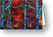 Landscape Framed Prints Greeting Cards - Surreal Orange Sky With Blue Trees Landscape Greeting Card by Kathy Fornal