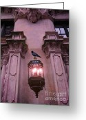 Ravens And Crows Photography Greeting Cards - Surreal Raven Gothic Lantern On Building Greeting Card by Kathy Fornal