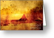 Surreal Fantasy Nature Scene With Ravens Greeting Cards - Surreal Red Yellow Barn With Ravens Landscape Greeting Card by Kathy Fornal