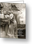 Mourner Greeting Cards - Surreal Romantic Female Cemetery Mourner At Grave Greeting Card by Kathy Fornal