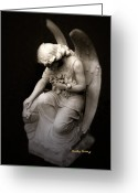 Inspirational Prints Photo Greeting Cards - Surreal Sad Angel Kneeling In Prayer Greeting Card by Kathy Fornal