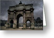 Starry Digital Art Greeting Cards - Surreal Starry Night Blue Paris Louvre Courtyard Greeting Card by Kathy Fornal