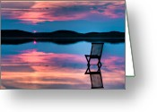 Coastline Greeting Cards - Surreal Sunset Greeting Card by Gert Lavsen