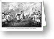 President Drawings Greeting Cards - Surrender Of Lord Cornwallis At Yorktown Greeting Card by War Is Hell Store