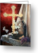 Clay Greeting Cards - Survey the Wonderous Cross Greeting Card by Cynara Shelton