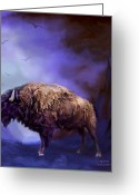 Buffalo Mixed Media Greeting Cards - Survivor Greeting Card by Carol Cavalaris