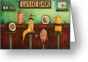 Cantina Greeting Cards - Sushi Bar Darker Tone Image Greeting Card by Leah Saulnier The Painting Maniac