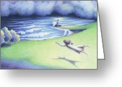 Storm Drawings Greeting Cards - Suspended In Light Greeting Card by Amy S Turner