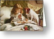 Cat Painting Greeting Cards - Suspense Greeting Card by Charles Burton