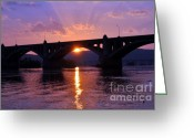 Pennsylvania Pyrography Greeting Cards - Susquehanna Sunset Greeting Card by Chad Buffington