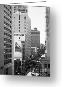 Hill Photographs Greeting Cards - Sutter Street West View . Black and White Photograph 7D7506 Greeting Card by Wingsdomain Art and Photography