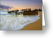 Sunrise Greeting Cards - Swallowed by the Tides Greeting Card by Mike  Dawson