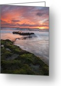 S. California Greeting Cards - Swamis Beach Sunset Greeting Card by Mike  Dawson