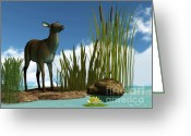 Lilly Pad Greeting Cards - Swamp Deer Greeting Card by Corey Ford