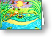 Clouds Drawings Greeting Cards - Swamp Life Greeting Card by Nick Gustafson