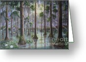 The Swamp Greeting Cards - Swamp Light Greeting Card by Marlene Kinser Bell
