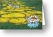Brakenhoff Batik Tapestries - Textiles Greeting Cards - Swamped Greeting Card by Kristine Allphin Brakenhoff