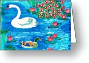 Sue Burgess Ceramics Greeting Cards - Swan and duck Greeting Card by Sushila Burgess