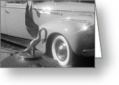 Automobile Hood Greeting Cards - Swan and Whitewalls Greeting Card by Peter  McIntosh