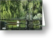 Reinhardt Greeting Cards - Swan Boats Greeting Card by Lisa Reinhardt