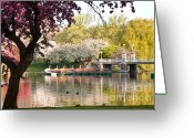 Suffolk County Greeting Cards - Swan Boats with Apple Blossoms Greeting Card by Susan Cole Kelly