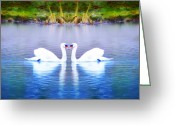 Goose Digital Art Greeting Cards - Swan Love Greeting Card by Bill Cannon