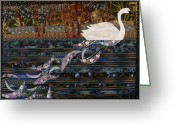 Fiber Art Greeting Cards - Swan Wake Greeting Card by Linda Beach