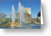 Swann Greeting Cards - Swann Fountain at Logans Circle Greeting Card by John Greim