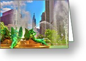 Swann Memorial Fountain Greeting Cards - Swann Memorial Fountain - HDR Greeting Card by Lou Ford