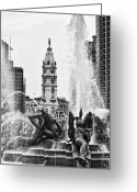 Swann Memorial Fountain Greeting Cards - Swann Memorial Fountain in Black and White Greeting Card by Bill Cannon