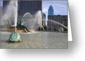 Swann Memorial Fountain Greeting Cards - Swann Memorial Fountain in Philadelphia Greeting Card by Bill Cannon