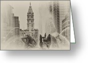 Swann Memorial Fountain Greeting Cards - Swann Memorial Fountain in Sepia Greeting Card by Bill Cannon