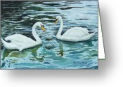 Swans Painting Greeting Cards - Swans and Cygnets Greeting Card by Paul Dene Marlor