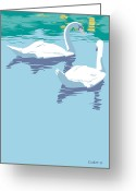 Swans Painting Greeting Cards - Swans bird lake pop art nouveau retro 80s 1980s landscape stylized large painting  Greeting Card by Walt Curlee